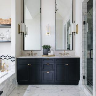 dark cabinets and countertops cream