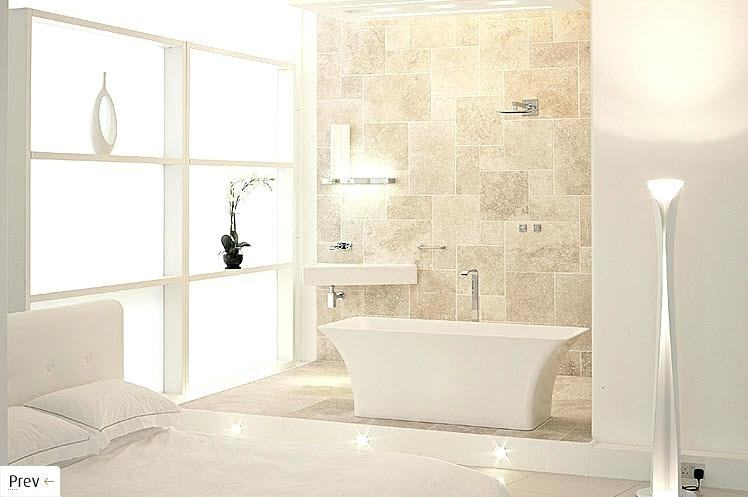 These designer bathrooms use tile, on floors, walls,