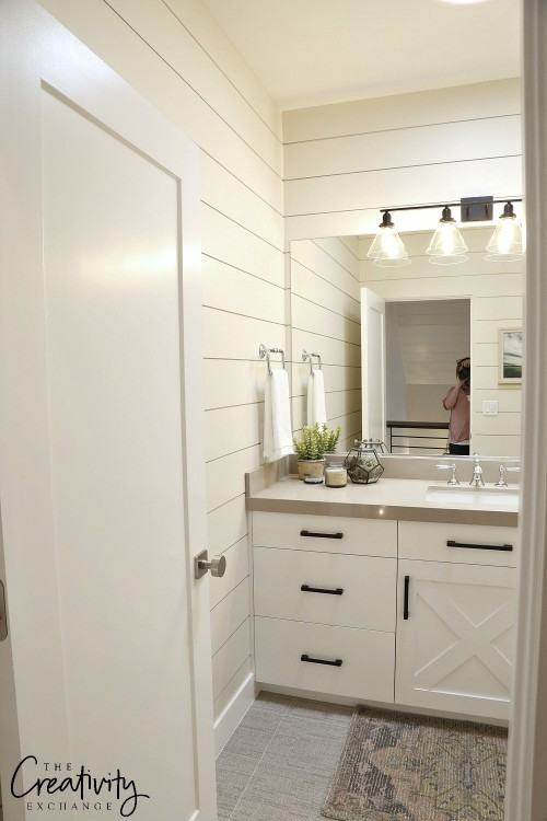 10 beautiful DIY faux shiplap and plank wall bathroom ideas