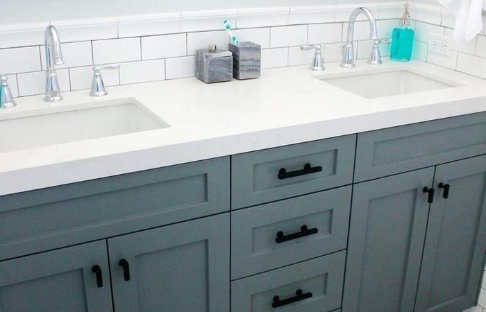 Backsplash Ideas Granite Countertops Modern Bathroom Green Bathroom Backsplash IdeasTwin Mirror Combined with Concrete Tile Flooring Used Contemporary
