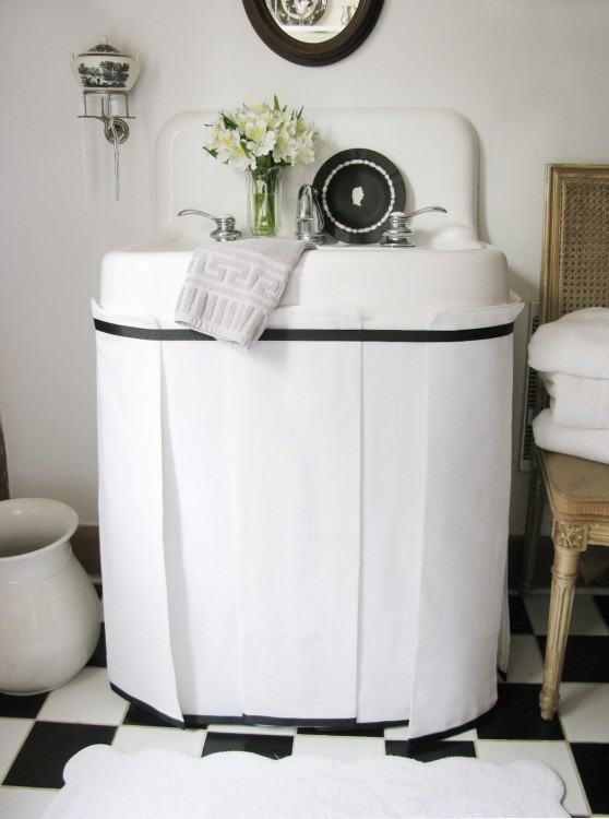 Best 25+ Bathroom  sink skirt ideas on Pinterest | Sink skirt, Utility sink skirt and Desk