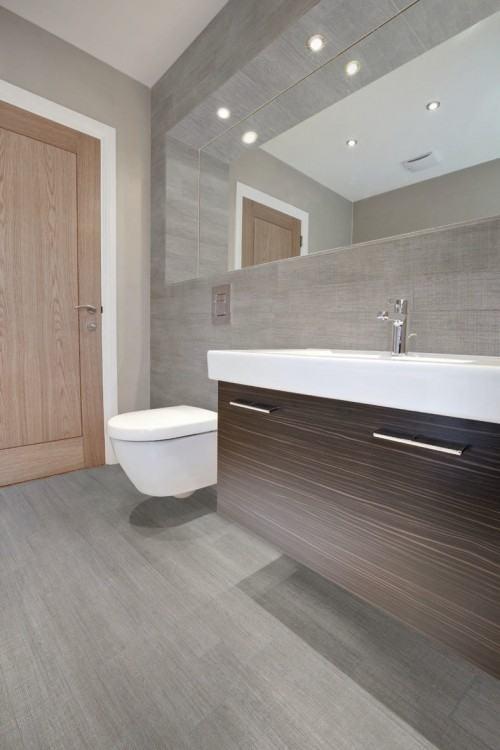 wood tile in bathroom